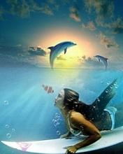 Картинка с дельфином и серфингисткой